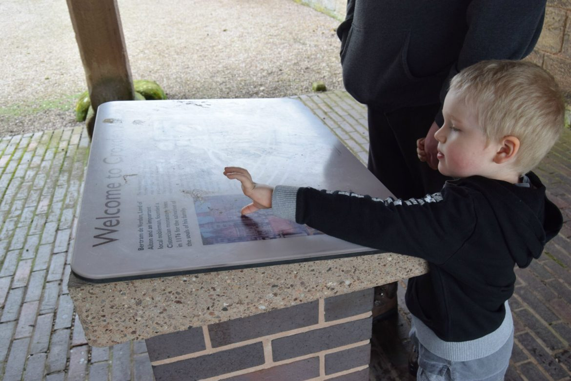 Reading the visitor boards at Croxden abbey