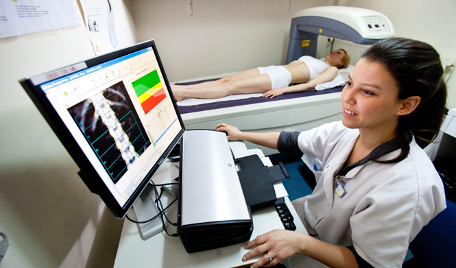 A lady having a health scan