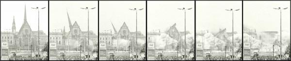 Sprengung der Universitätskirche St. Pauli am 30. Mai 1968 gegen 10 Uhr