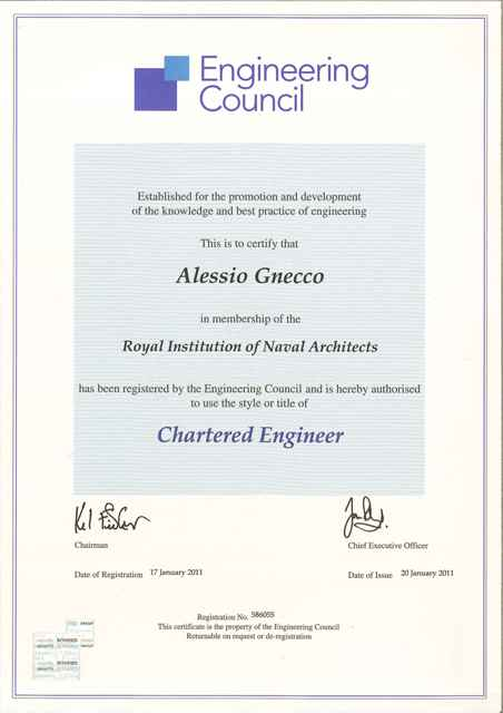 CPD And Certificates Alessio Gnecco Naval Architect