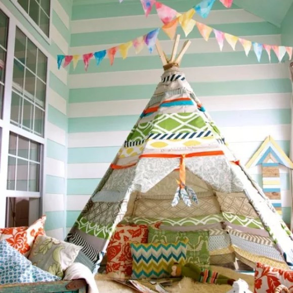 Interieur+DIY   Wigwam in de kinderkamer #tipi #wigwam