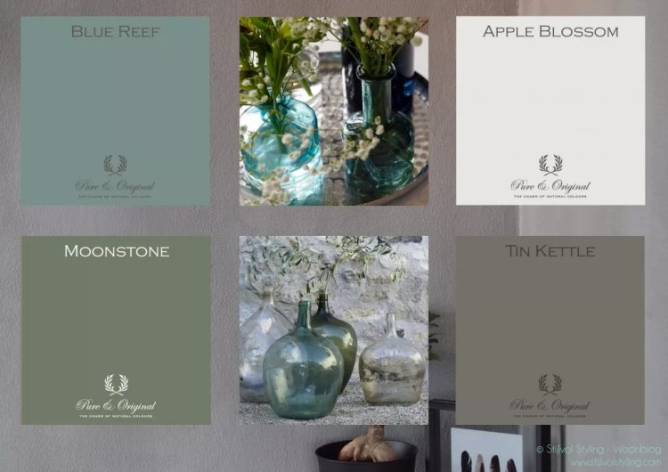 Kleur & interieur | Haal de natuur naar binnen met kalkverf - Sfeercollage kleurtrends 2016 kalkverf Pure & Original - Stijlvol Styling woonblog