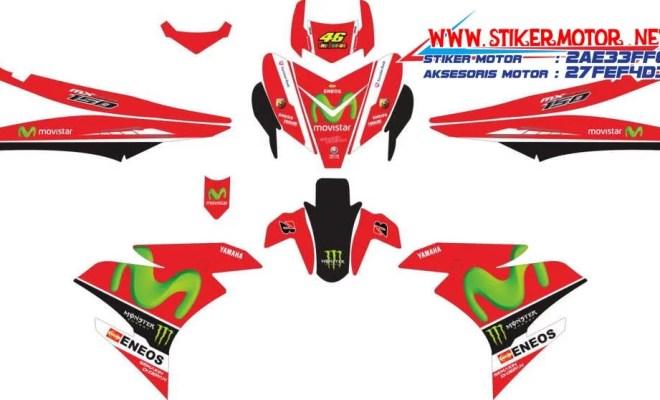 striping motor YAMAHA MX KING movistar merah