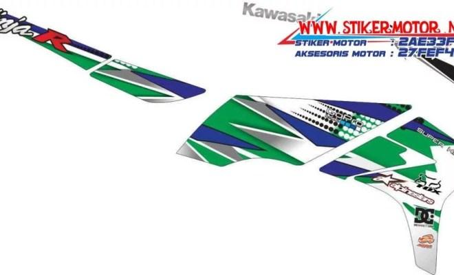 striping motor kawasaki ninja r motif decal blue