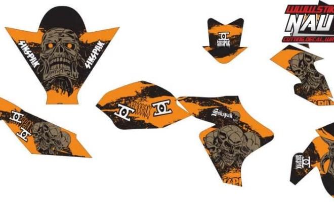 Stiker new vxion sikspak orange brown