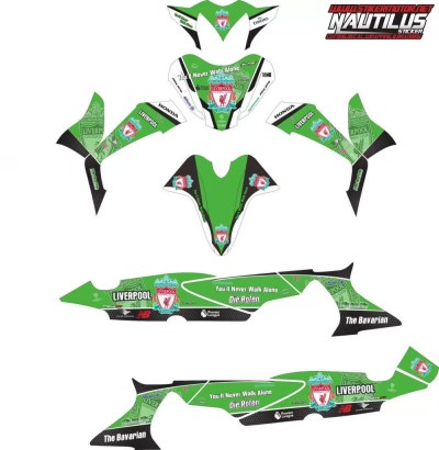 Stiker Motor supra x 125 liverpool hijau