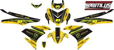 Stiker mx king vr46 monster energy yellow