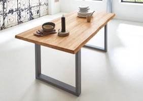 SAM® Esstisch Baumkante Massiv Eiche 180 x 90 silber SEANA