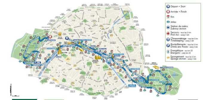 Paris Marathon 2017 route