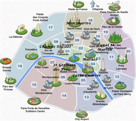 Paris neighborhoods map