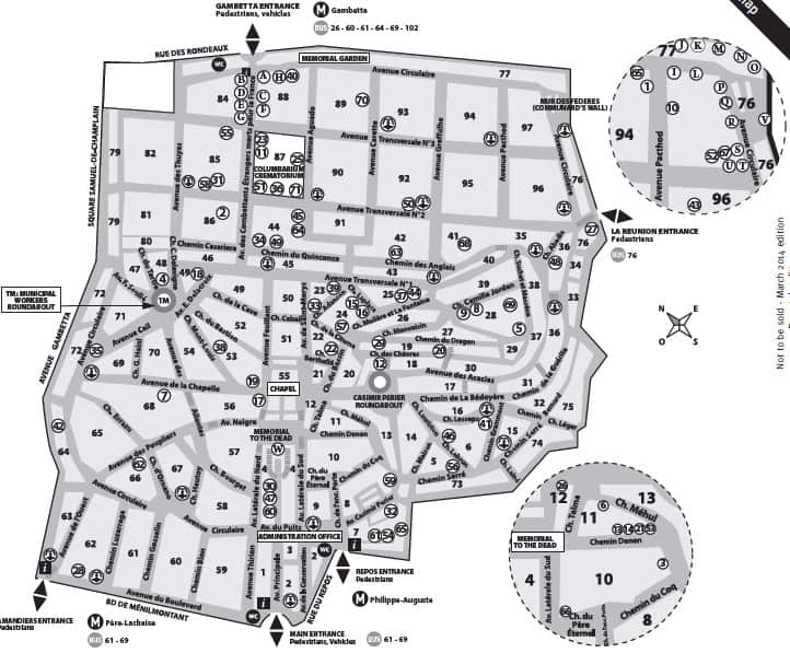 Map of Père Lachaise Cemetery