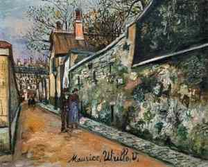 Rue Saint Vincent in Montmartre painted by Utrillo