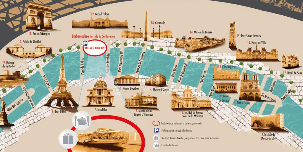 Ruta de la comida crucero en Paris con Bateaux Mouches