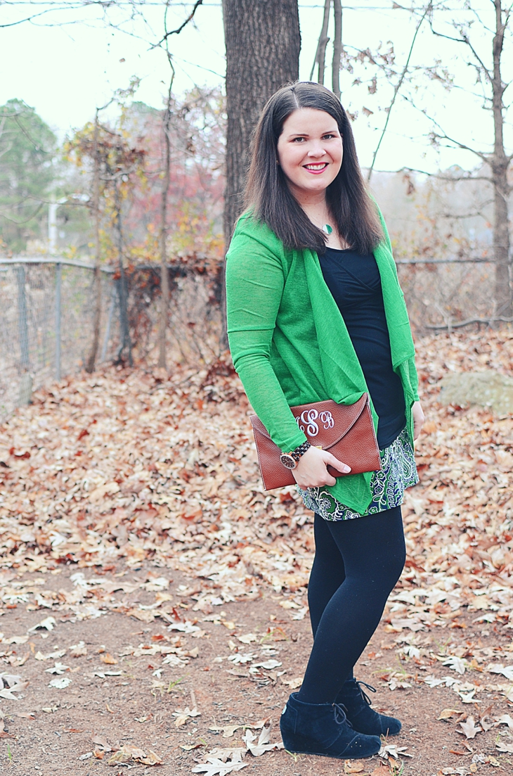 Fall Fashion | We've Built Tech Angles Necklace, green lace me away cardigan, paisley mini skirt, TOMS wedges