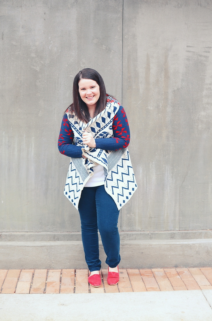 Winter Fashion   Oakleigh Rose Liberty Cardigan, navy cords, red TOMS