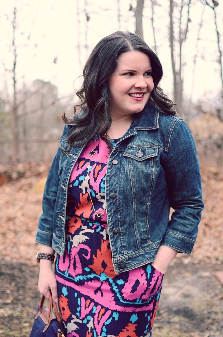 Fashion & Style | Junie Blake Corrine dress, LOFT denim jacket, Nononsense tights, TOMS wedge booties