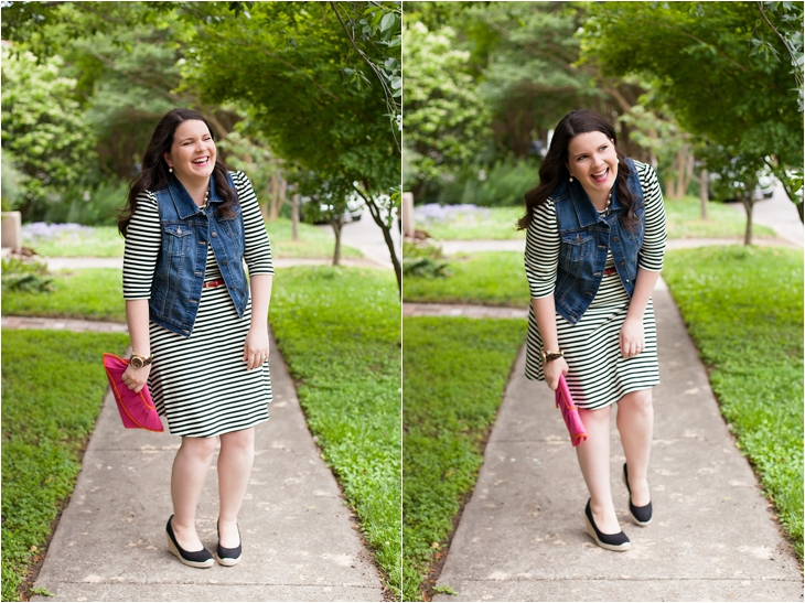 Striped fit and flare dress, denim vest, black wedges, Holly G. necklace