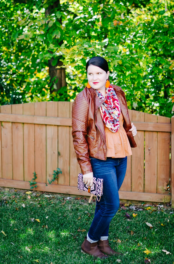 Target leather jacket, world market scarf, Nickel and Suede pumpkin spice earrings