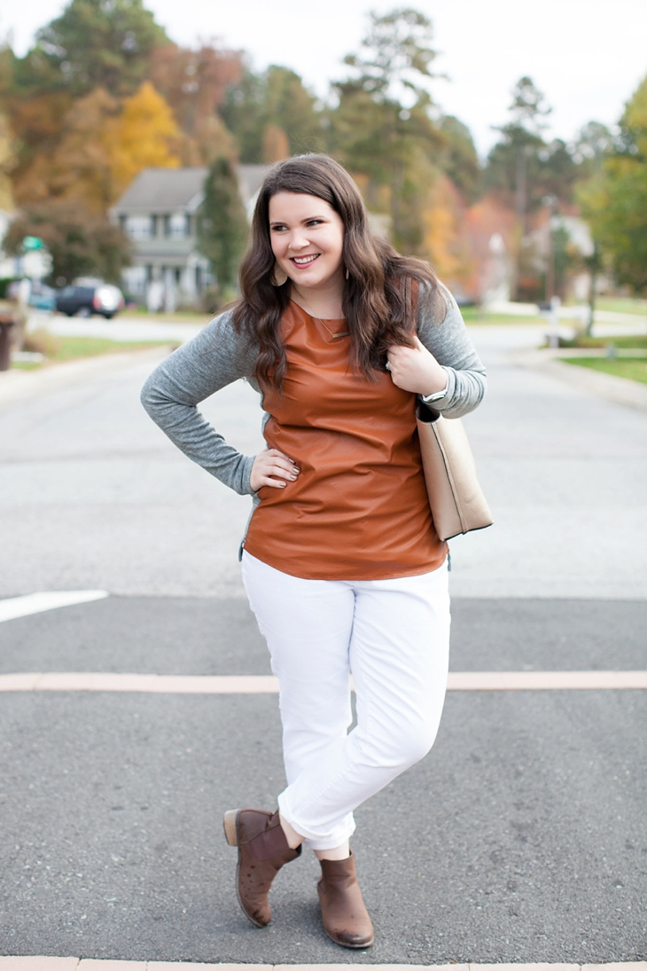 White Plum leather front sweater, white denim, brown booties | fall fashion (6)
