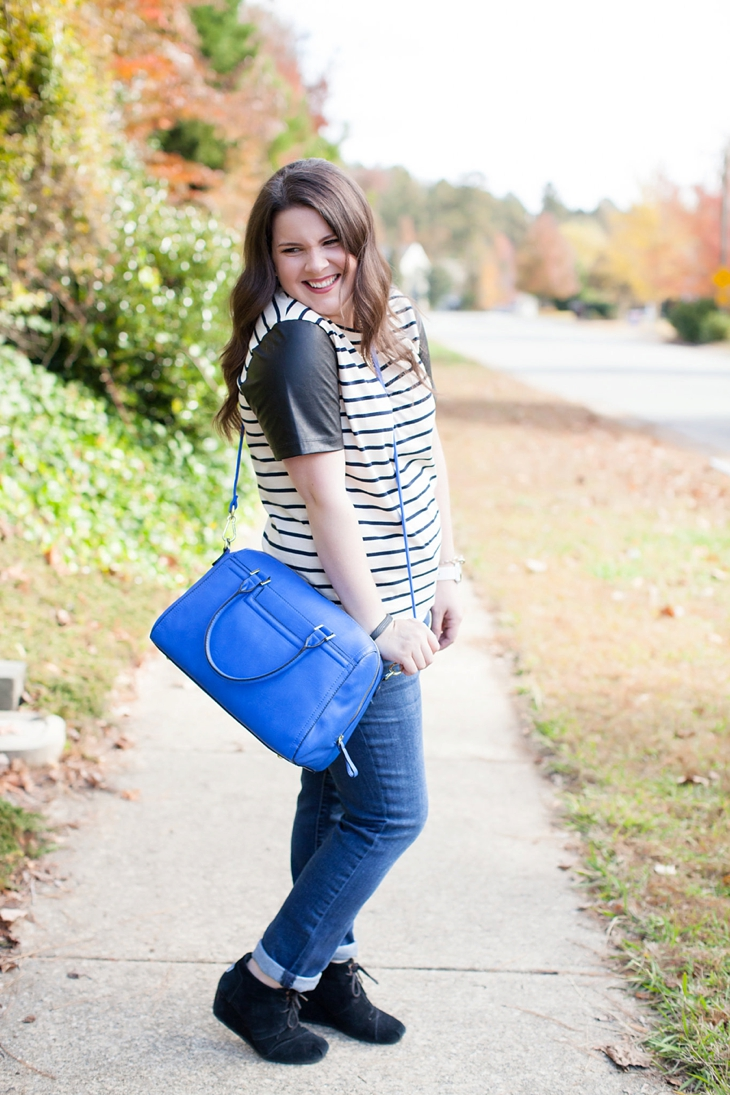 J.Crew Factory striped leather sleeve tee, boyfriend jeans, TOMS booties, cobalt bag (1)