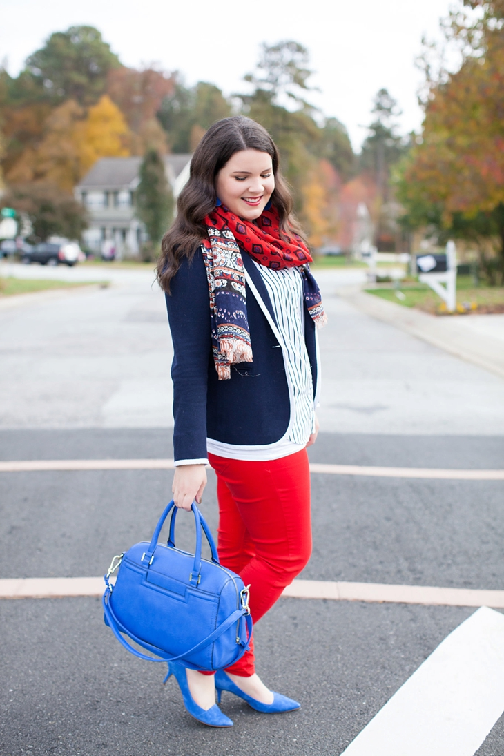 Belk Schoolboy Blazer, Red Jeans, Cobalt Heels | Preppy Fall Fashion (1)