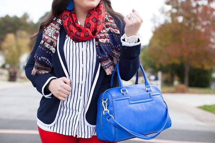 Belk Schoolboy Blazer, Red Jeans, Cobalt Heels | Preppy Fall Fashion (2)