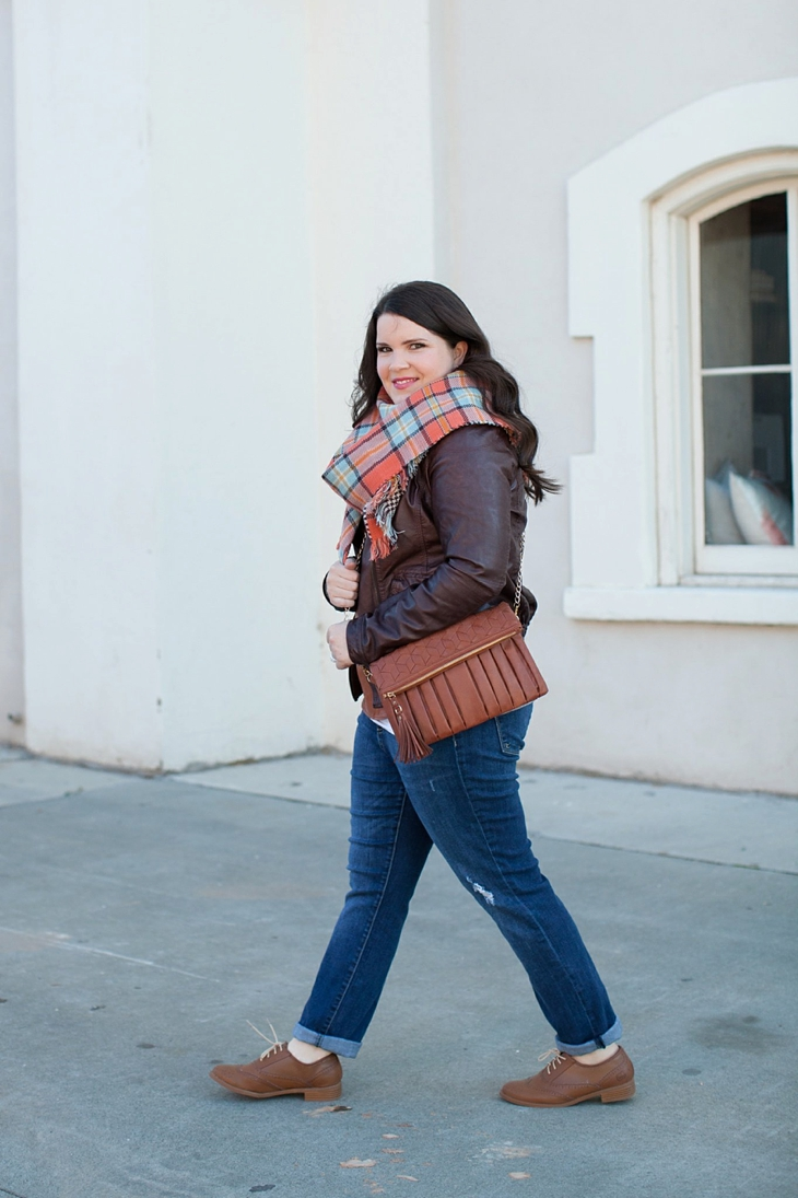 Winter / Fall style | Kut from the Kloth boyfriend jeans, leather moto jacket, leather top, blanket scarf, loafers | North Carolina Fashion Blogger (1)