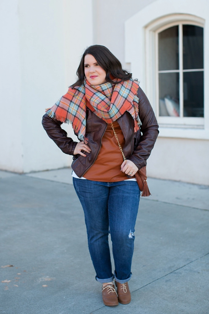 Winter / Fall style | Kut from the Kloth boyfriend jeans, leather moto jacket, leather top, blanket scarf, loafers | North Carolina Fashion Blogger (5)