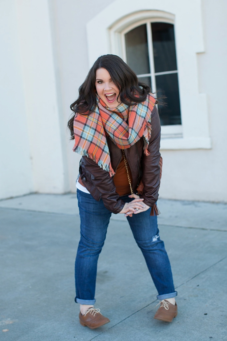 Winter / Fall style | Kut from the Kloth boyfriend jeans, leather moto jacket, leather top, blanket scarf, loafers | North Carolina Fashion Blogger (7)