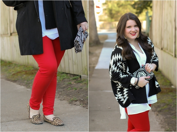 Andrew Marc Faux Fur Hood Coat, Red Jeans, Leopard Print Loafers, Aztec Sweater (5)