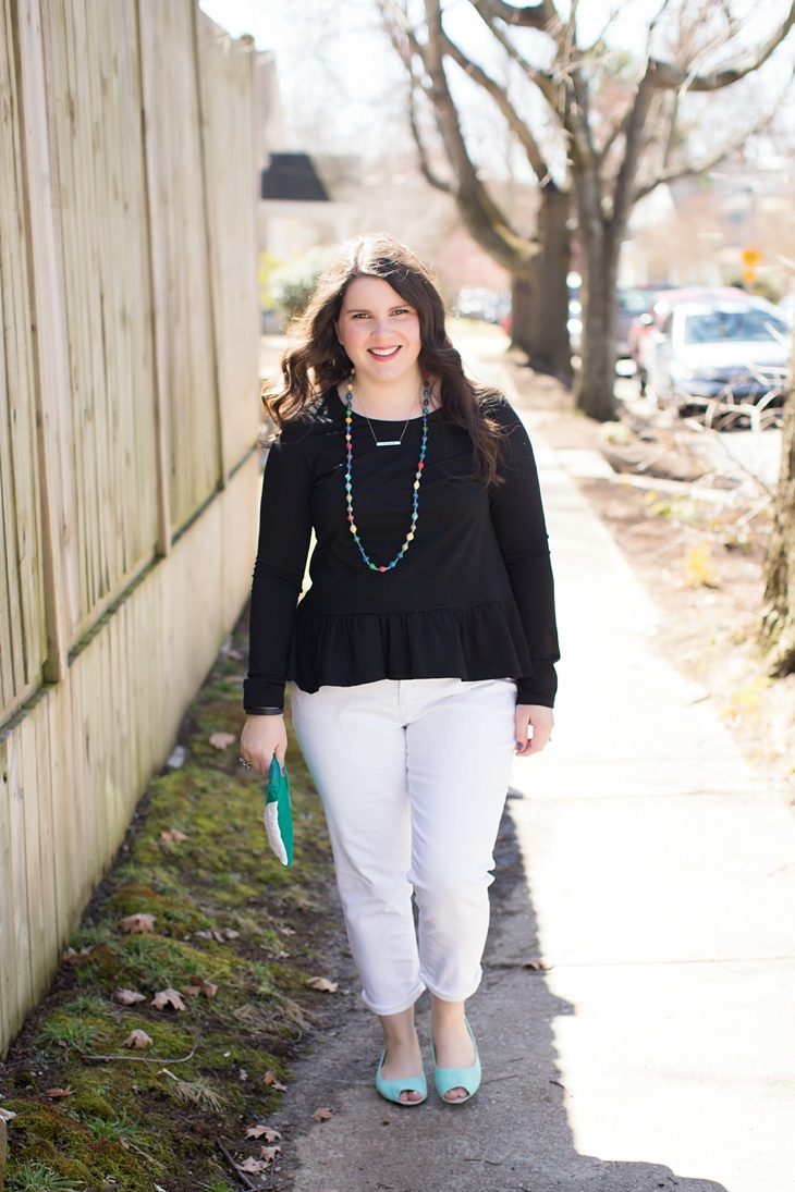 Elegantees, Mighty River Project Necklace, White boyfriend jeans, Root Collective Peep Toe - North Carolina Fashion Blogger (1)
