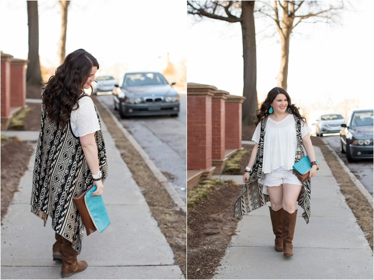lace shorts, aztec printed vest, brown boots, ooh baby designs foldover clutch, nickel and suede earrings - north carolina fashion blogger (5)
