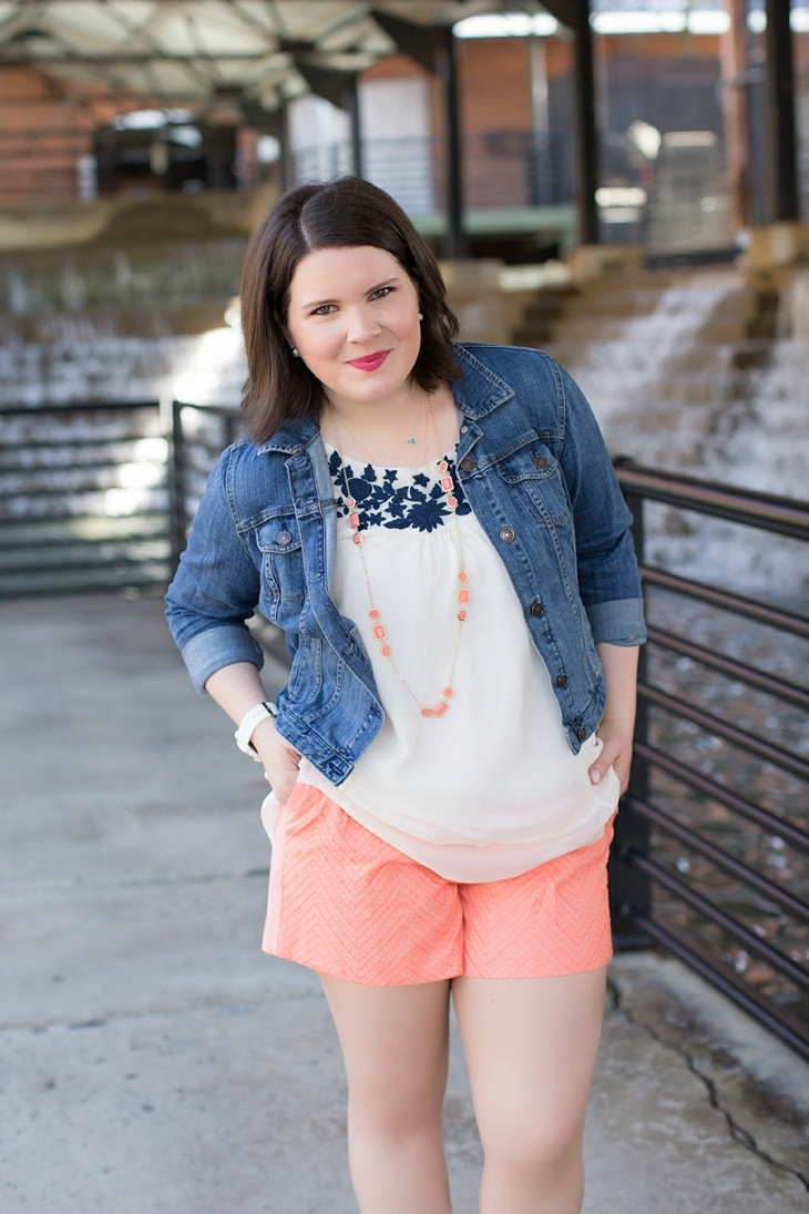 """Stitch Fix Skies are Blue """"Karla Textured Short"""", Stitch Fix Under Skies – Alexa Embroidery Detailed Tank, Coral heels from Rack Room Shoes, denim jacket, Stitch Fix Pixley """"Carly Multi-Stone Layering Necklace"""""""