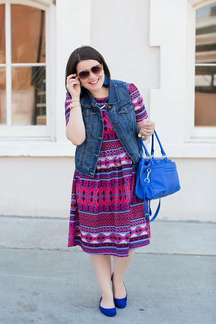 LulaRoe Amelia dress, Nickel and Suede earrings, Root Collective shoes