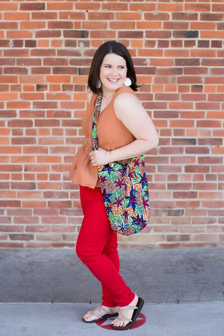 peplum top, red jeans, Sseko sandals, Nickel and Suede earrings, The Mighty River Project bag