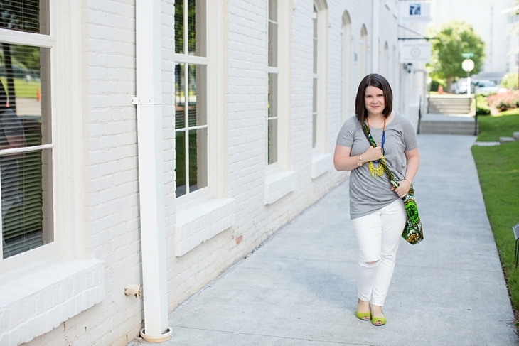 """Elegantees """"Adina"""" tee in grey, white distressed denim jeans, Noonday Collection necklace, The Mighty River Project market tote, The Root Collective flats,"""