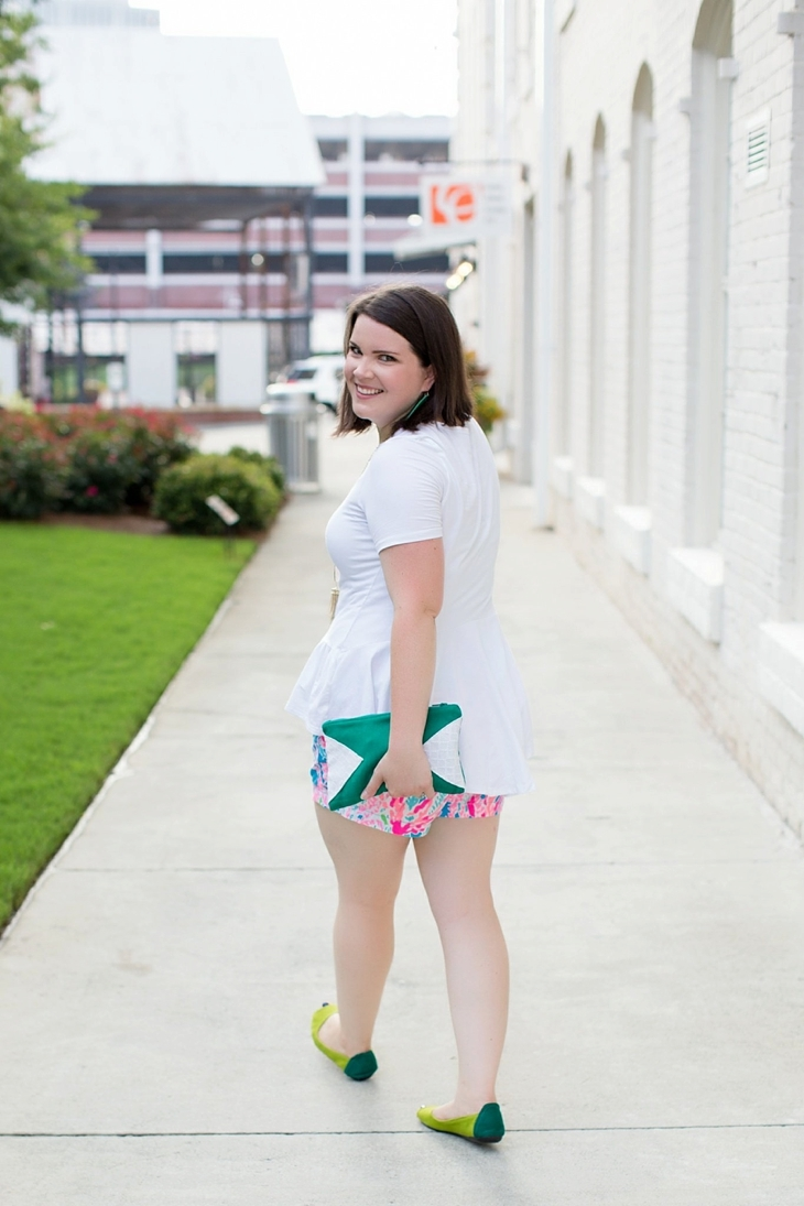 Elegantees Chelsea tee, Lilly Pulitzer Lets Cha Cha Callahan shorts, Root Collective, Nickel and Suede, Kendra Scott (7)