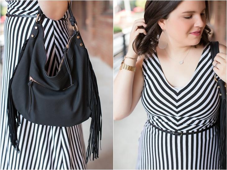 Striped maxi dress, black fringe bag - Maternity / Pregnancy Style (3)