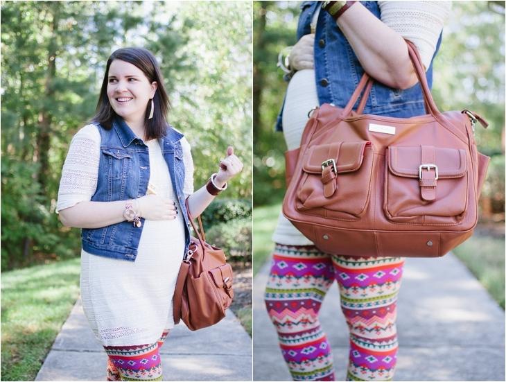 White Plum Printed Leggings, Stitch Fix maternity tunic, denim vest, Lily Jade diaper bag | Maternity Style (4)