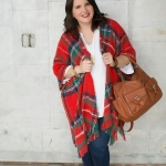 A Tartan (or is it just plaid?) Poncho on a Pregnant Lady