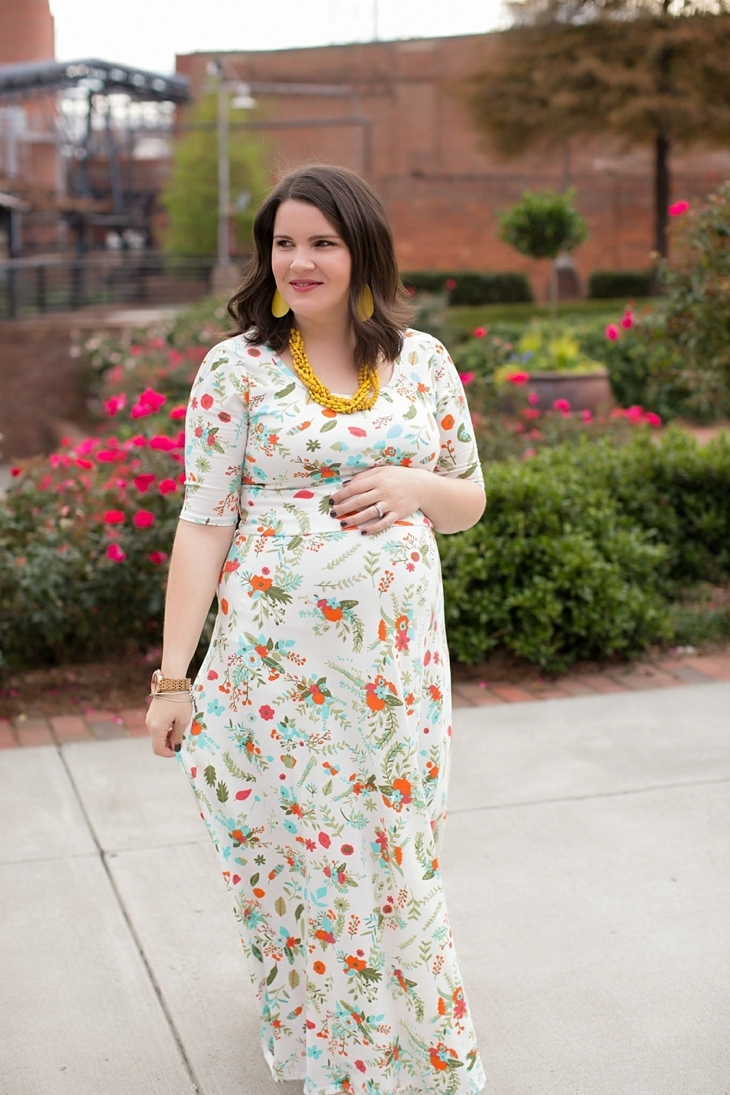 LulaRoe floral Ana dress, yellow accessories, Nickel and Suede earrings, Root Collective shoes, maternity, fall, fashion (10)