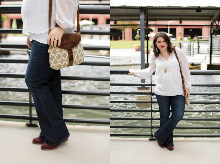 Maternity flare jeans, booties, JOYN bag, Lilly Pulitzer gold and white blouse, Nickel and Suede gold earrings, maternity fashion, style (4)