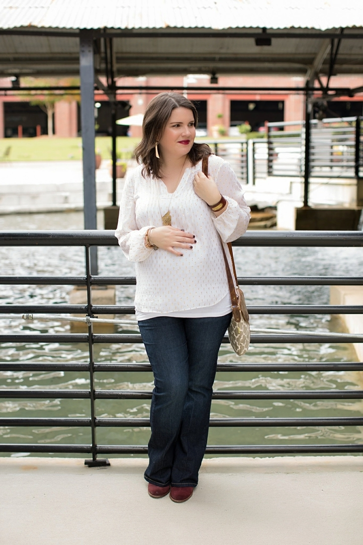 Maternity flare jeans, booties, JOYN bag, Lilly Pulitzer gold and white blouse, Nickel and Suede gold earrings, maternity fashion, style (7)