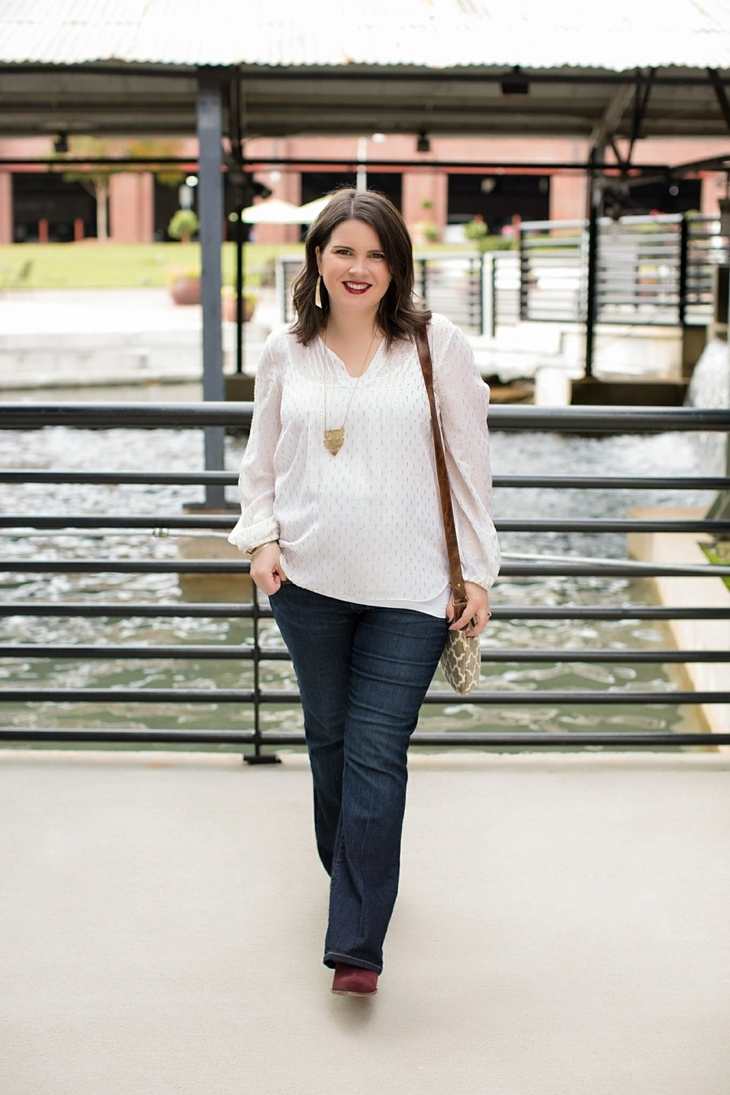 Maternity flare jeans, booties, JOYN bag, Lilly Pulitzer gold and white blouse, Nickel and Suede gold earrings, maternity fashion, style (9)