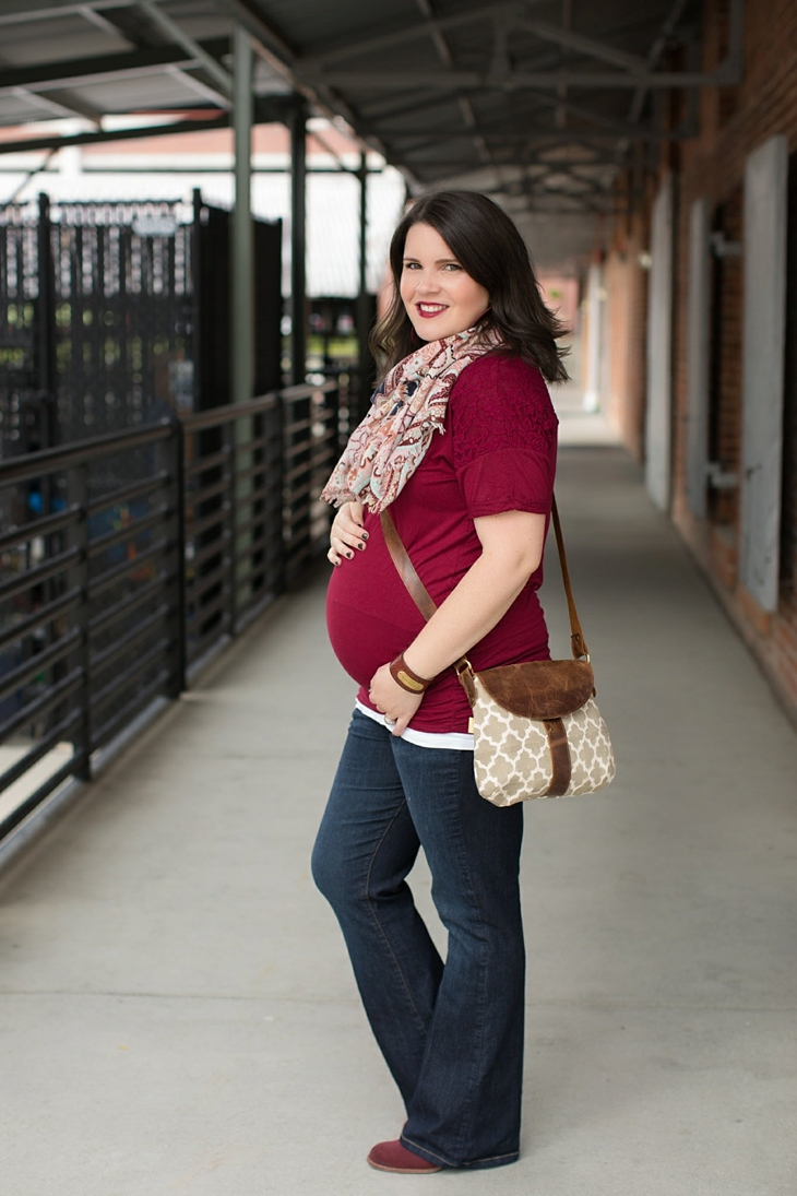 Maternity flare jeans, booties, JOYN bag, scarf, Nickel and Suede marsala earrings, maternity fashion, style (1)