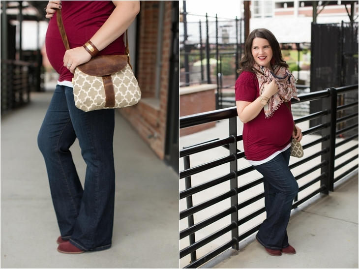Maternity flare jeans, booties, JOYN bag, scarf, Nickel and Suede marsala earrings, maternity fashion, style (6)