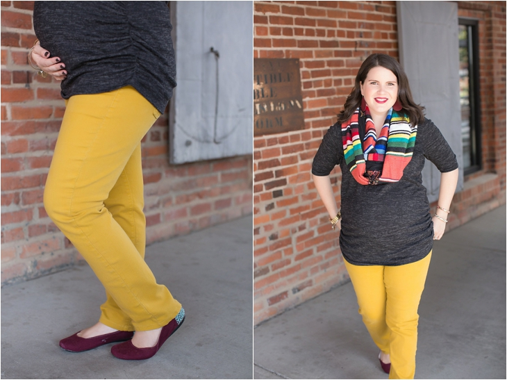 mustard denim, Root Collective flats, Stitch Fix liverpool knit top, Just Dawnelle serape scarf, Nickel and Suede Marsala earrings, maternity fashion (3)