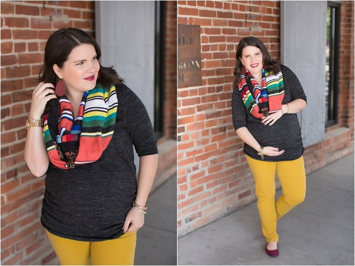 mustard denim, Root Collective flats, Stitch Fix liverpool knit top, Just Dawnelle serape scarf, Nickel and Suede Marsala earrings, maternity fashion (4)