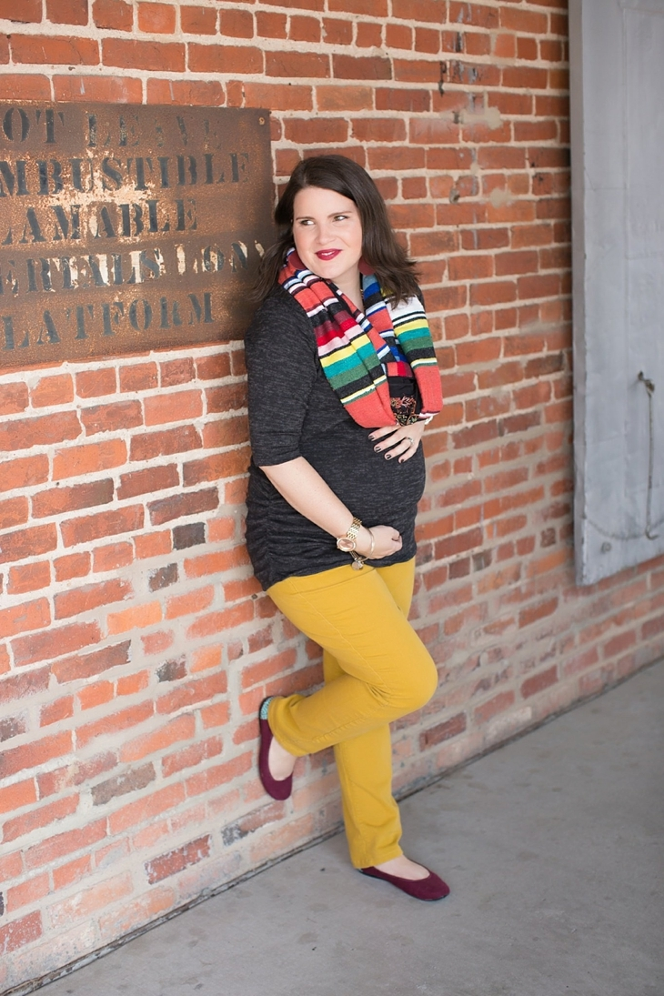 mustard denim, Root Collective flats, Stitch Fix liverpool knit top, Just Dawnelle serape scarf, Nickel and Suede Marsala earrings, maternity fashion (5)