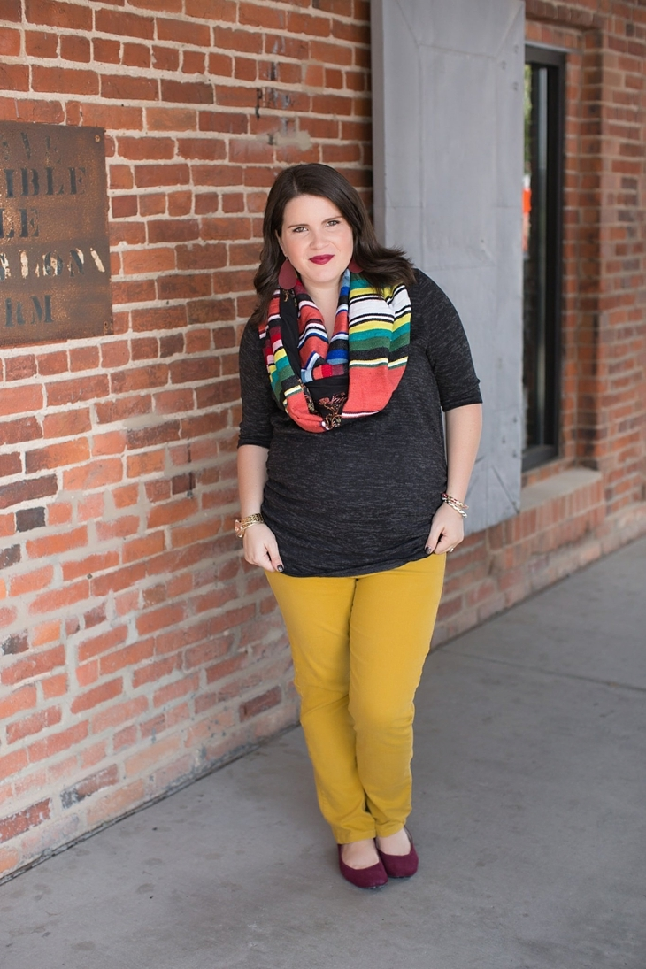 mustard denim, Root Collective flats, Stitch Fix liverpool knit top, Just Dawnelle serape scarf, Nickel and Suede Marsala earrings, maternity fashion (8)